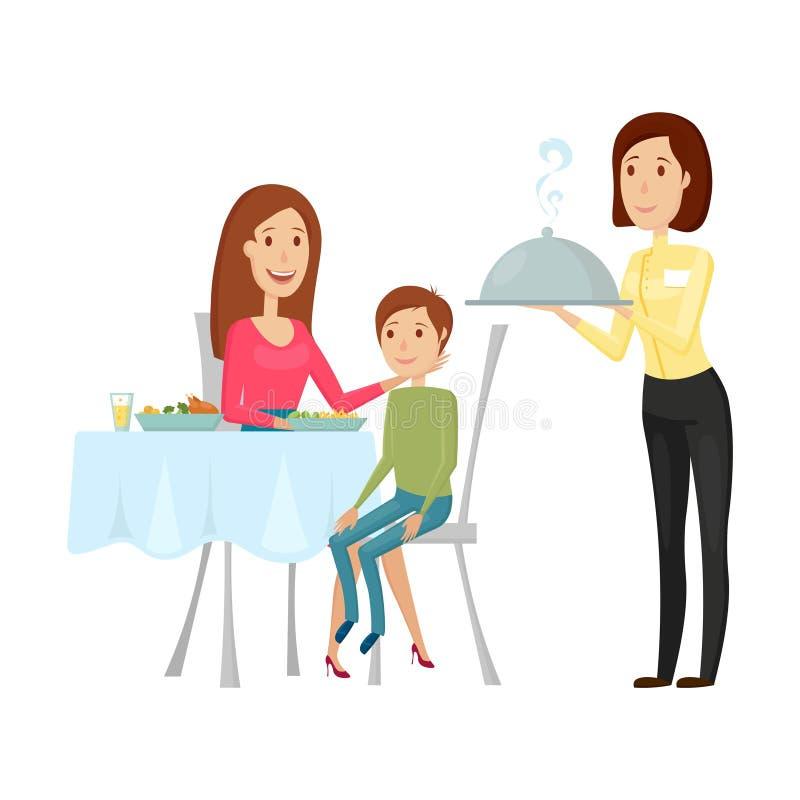 En uppassare med en varm maträtt i restaurangen Vektorillustration på en vit bakgrund Lägenhet- och tecknad filmstil royaltyfri illustrationer