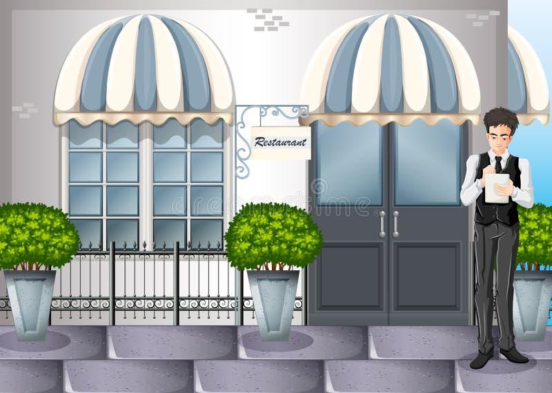 En uppassare utanför restaurangen royaltyfri illustrationer