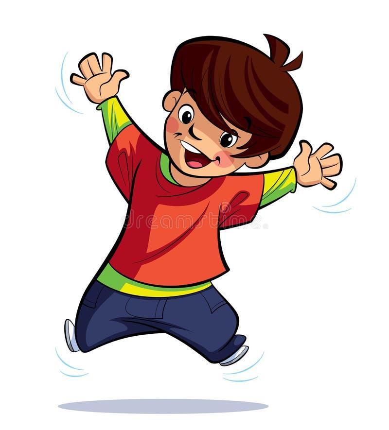 Lycklig pojkebanhoppning stock illustrationer
