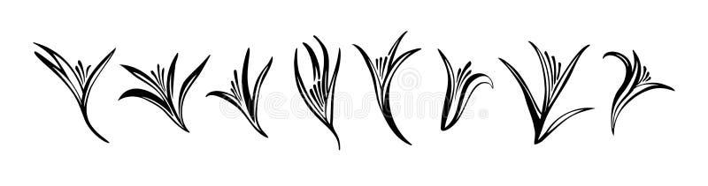 En uppsättning abstrakta eleganta blommor Art Nouveau-typ av vektorsilhuetter Svart isolerad på vit bakgrund Grafisk illustration vektor illustrationer