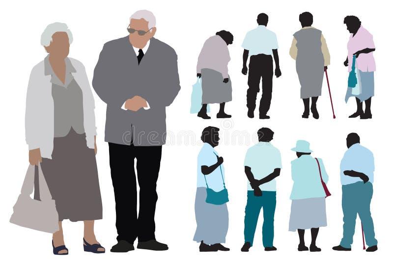 Åldringfolk vektor illustrationer