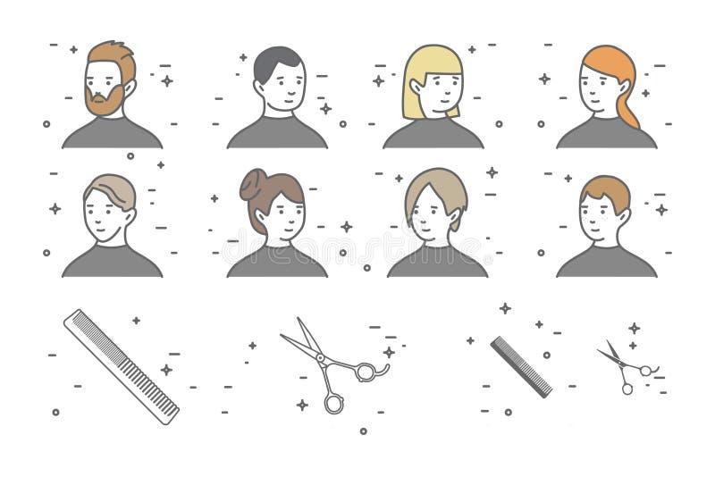 En uppsättning av åtta stående av män och kvinnor med olika frisyrer i en skönhetsalong Scissors symbolen stock illustrationer