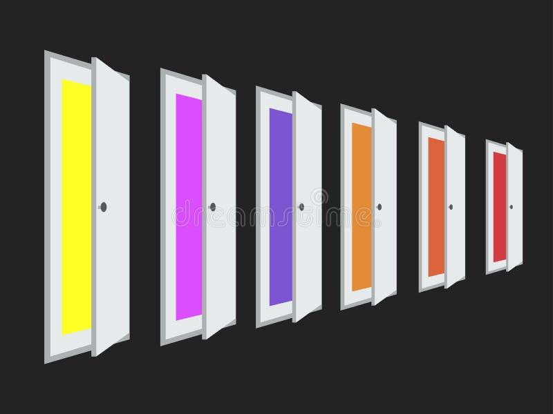 En uppsättning av öppna dörrar med olika färger färgar Isometrisk dörr vektor royaltyfri illustrationer