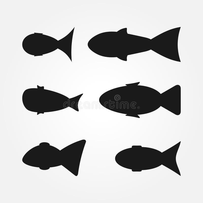En uppsättning av abstrakta fiskkonturer Sex beståndsdelar stock illustrationer
