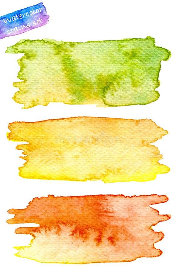 En uppsättning av abstrakta vattenfärgfläckar räcker målat vektor illustrationer