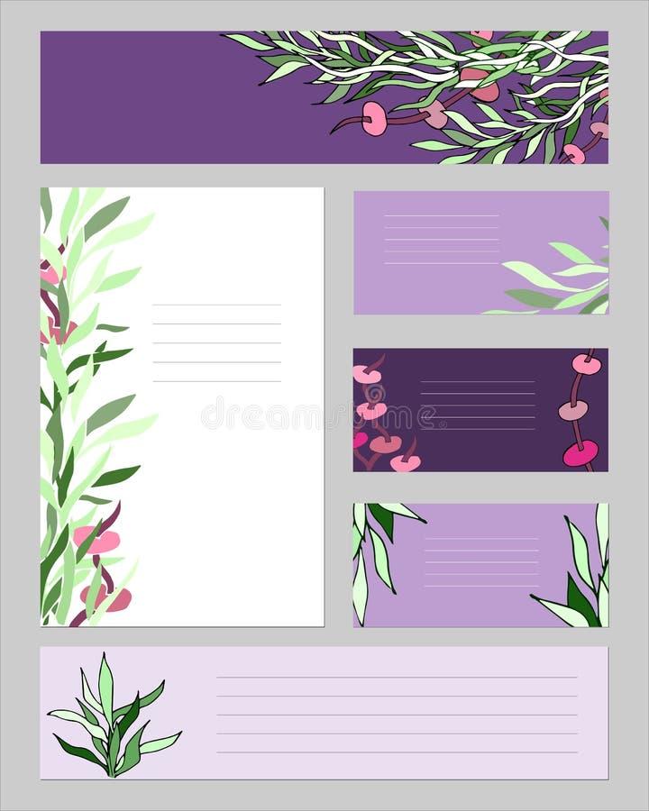 En uppsättning av affärskort och mallar för text Orienteringen av den företags identiteten med gröna växter Ett skriftligt kuvert vektor illustrationer