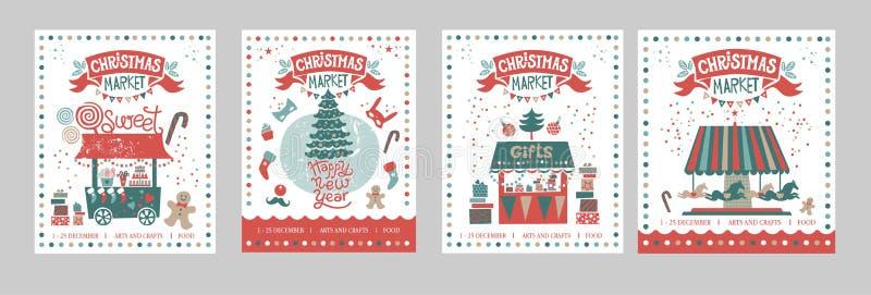 En uppsättning av affischer eller vykortjul marknadsför, det lyckliga nya året royaltyfri illustrationer