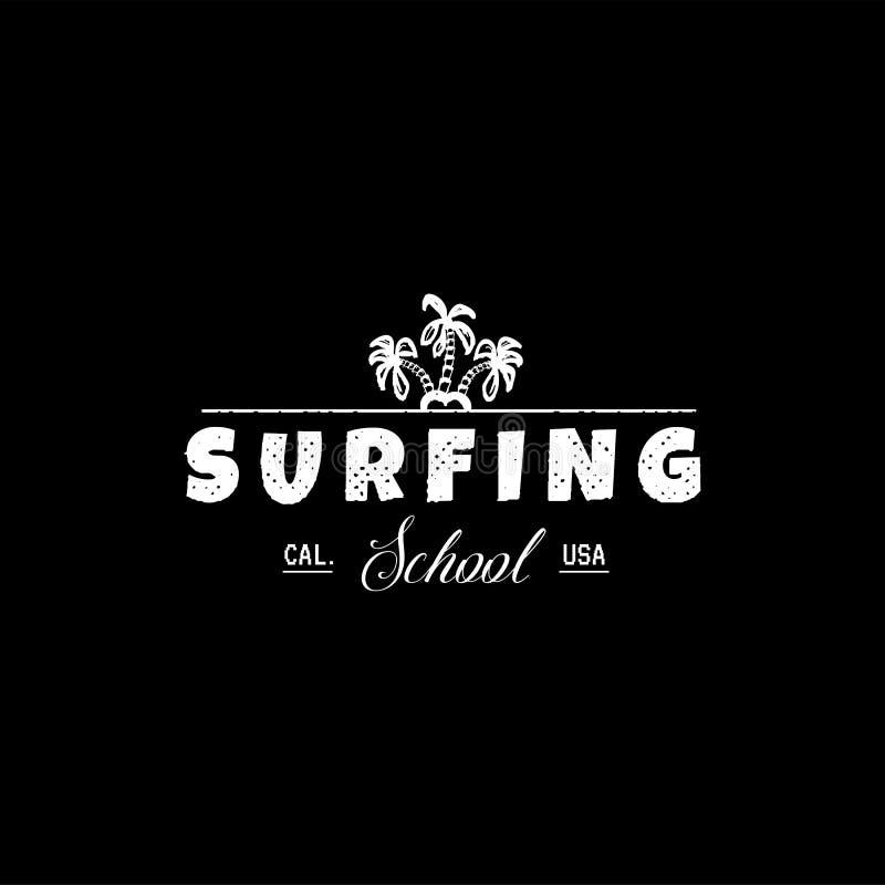 En uppsättning av att surfa för utskrift Lös våglogo, bränningpunktklistermärke, beståndsdelar av bräden för att surfa för skola vektor illustrationer