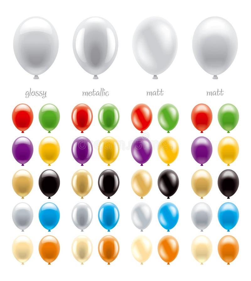 En uppsättning av ballonger av olika typer och färger vektor illustrationer