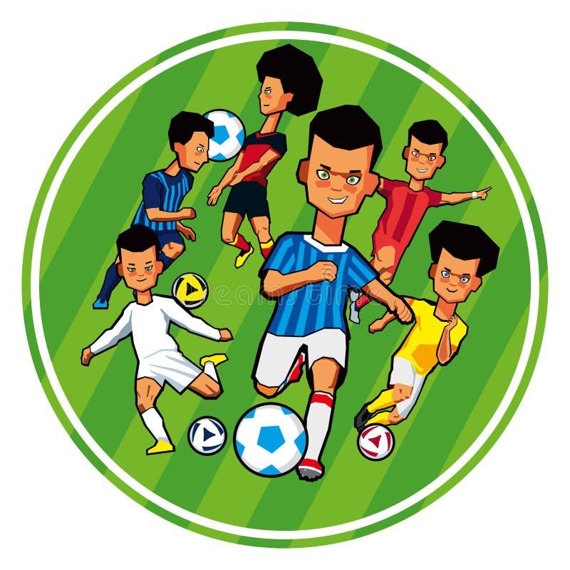 En uppsättning av barn av fotbollsspelare i olika sportlikformig royaltyfri illustrationer