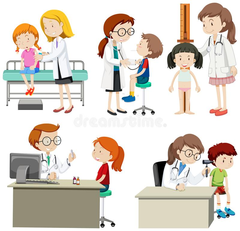 En uppsättning av barn kontrollerar upp vektor illustrationer