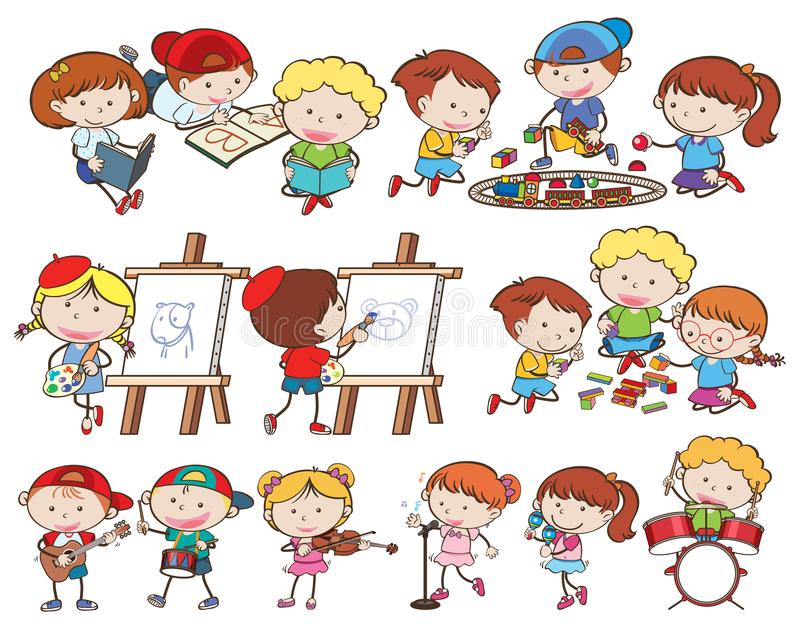 En uppsättning av barn och aktiviteter royaltyfri illustrationer