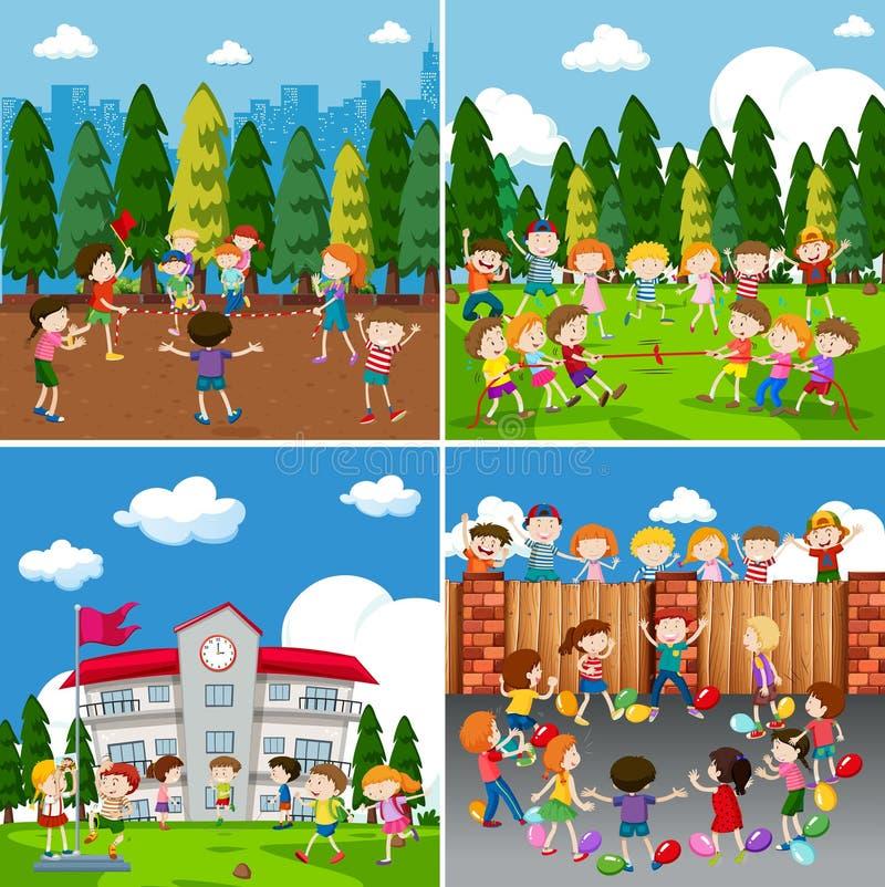En uppsättning av barn som gör aktivitet royaltyfri illustrationer