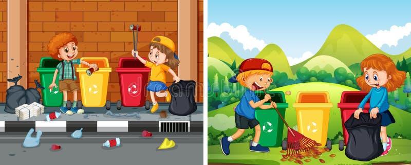 En uppsättning av barn som gör ren offentligt område royaltyfri illustrationer