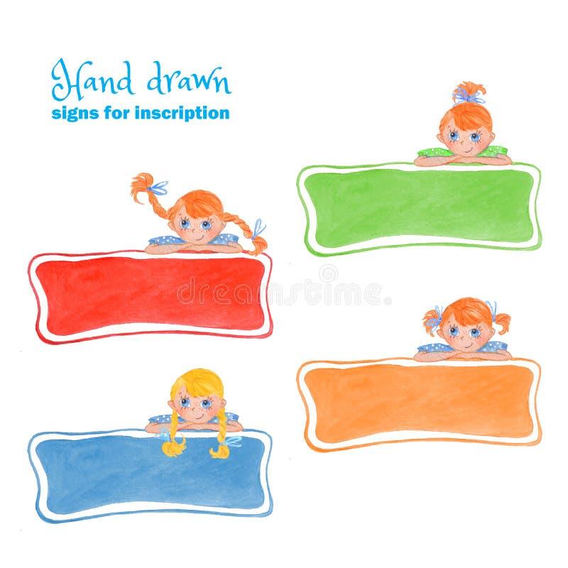 En uppsättning av barns tecken för inskrifterna stock illustrationer