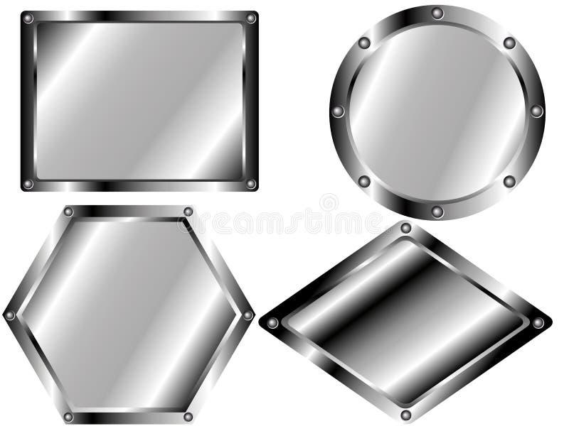 En uppsättning av belägger med metall pläterar 2 royaltyfri illustrationer