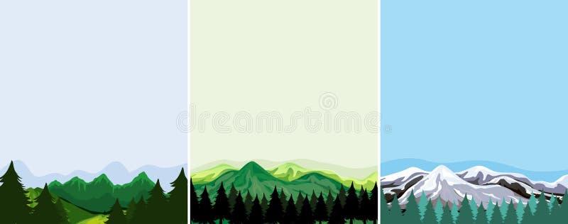 En uppsättning av bergmallen royaltyfri illustrationer