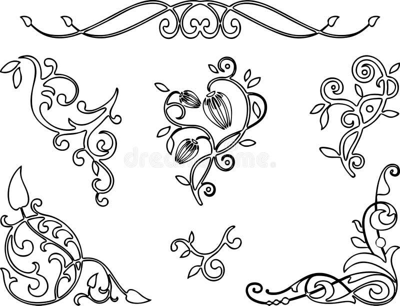 En uppsättning av beståndsdelar för blom- designer stock illustrationer