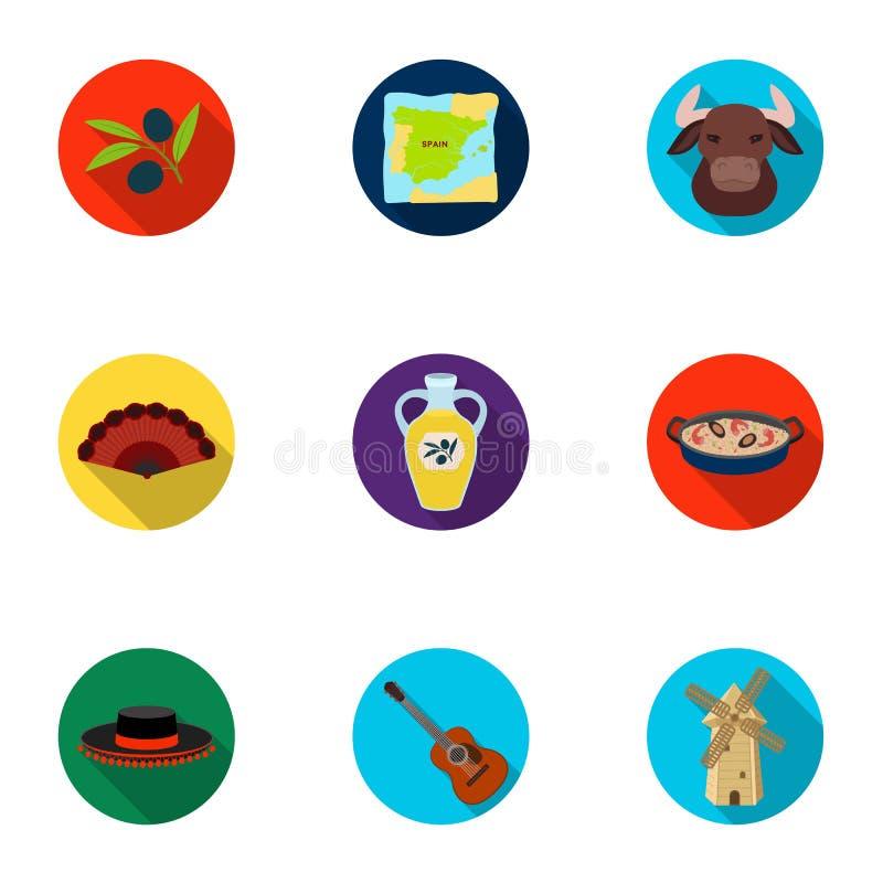 En uppsättning av bilder om Spanien Sikt av Spanien, zigenare, gitarr, dansar Spanien landssymbol i uppsättningsamling på lägenhe vektor illustrationer
