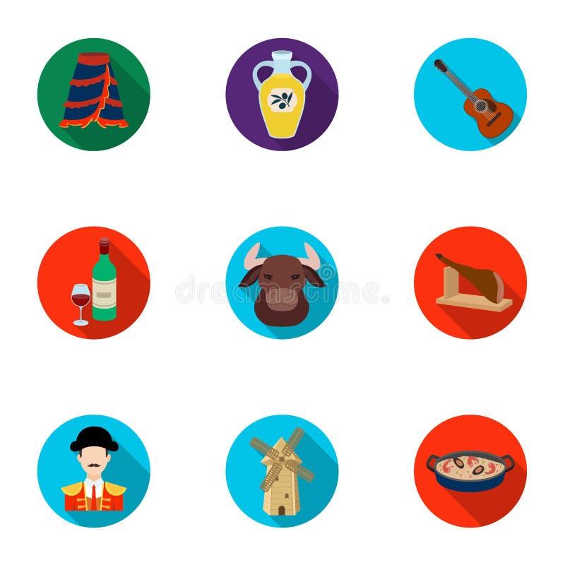 En uppsättning av bilder om Spanien Sikt av Spanien, zigenare, gitarr, dansar Spanien landssymbol i uppsättningsamling på lägenhe royaltyfri illustrationer
