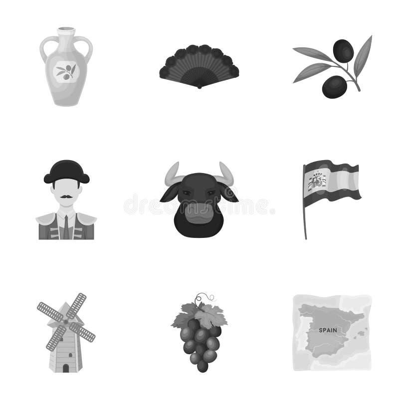 En uppsättning av bilder om Spanien Sikt av Spanien, zigenare, gitarr, dansar Spanien landssymbol i uppsättningsamling på royaltyfri illustrationer