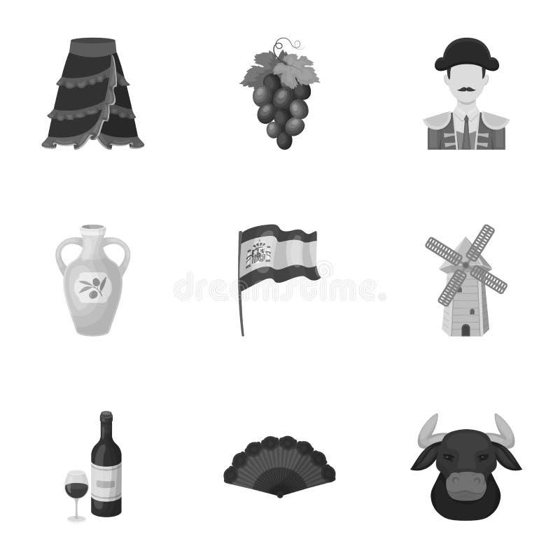 En uppsättning av bilder om Spanien Sikt av Spanien, zigenare, gitarr, dansar Spanien landssymbol i uppsättningsamling på vektor illustrationer