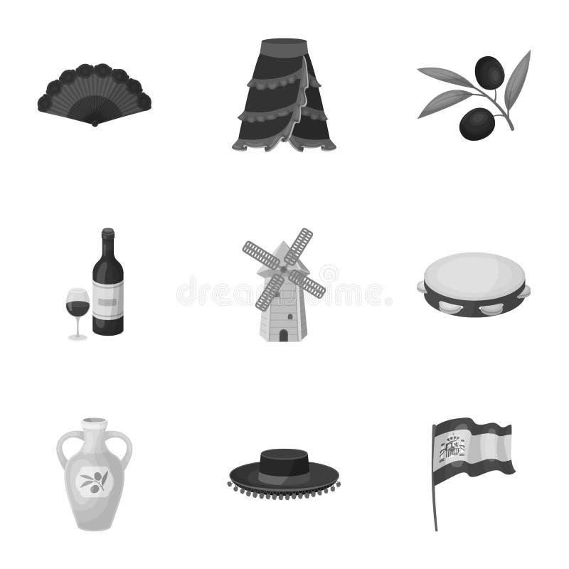 En uppsättning av bilder om Spanien Sikt av Spanien, zigenare, gitarr, dansar Spanien landssymbol i uppsättningsamling på stock illustrationer