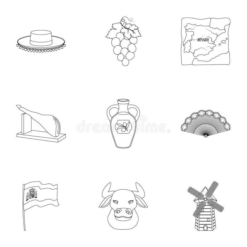 En uppsättning av bilder om Spanien Sikt av Spanien, zigenare, gitarr, dansar Spanien landssymbol i uppsättningsamling på översik stock illustrationer