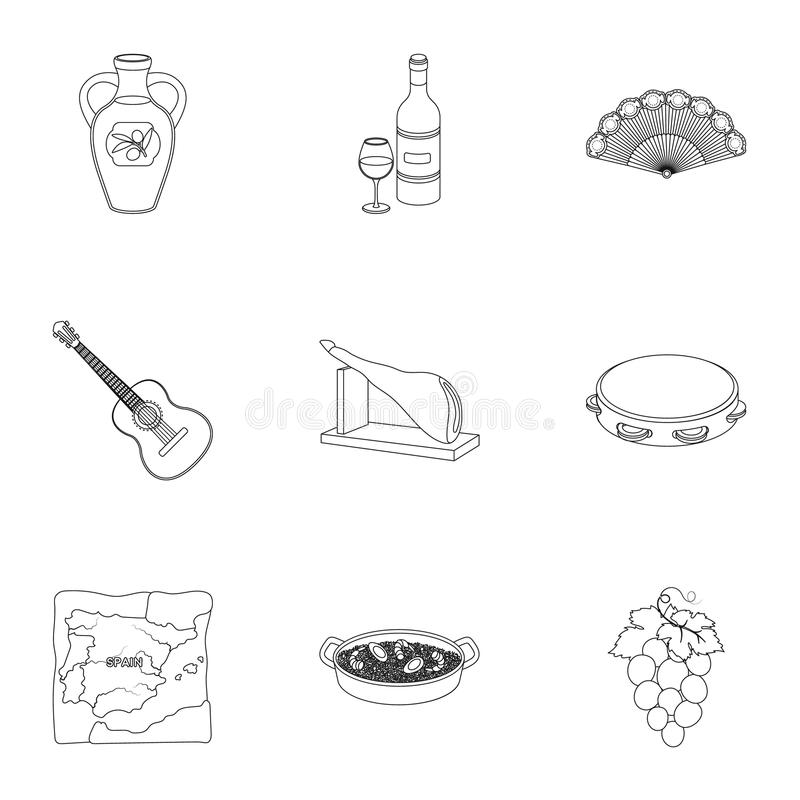 En uppsättning av bilder om Spanien Sikt av Spanien, zigenare, gitarr, dansar Spanien landssymbol i uppsättningsamling på översik vektor illustrationer