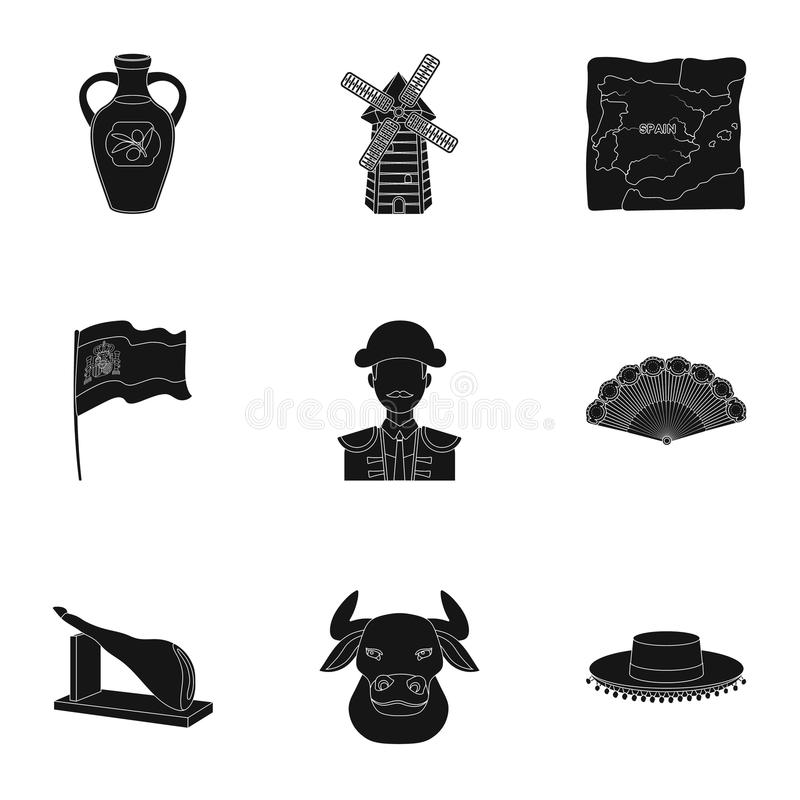 En uppsättning av bilder om Spanien Sikt av Spanien, zigenare, gitarr, dansar Spanien landssymbol i uppsättningsamling på svart vektor illustrationer