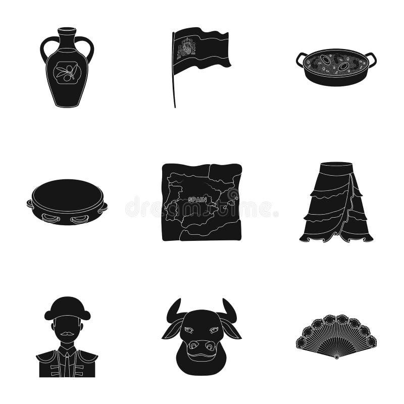 En uppsättning av bilder om Spanien Sikt av Spanien, zigenare, gitarr, dansar Spanien landssymbol i uppsättningsamling på svart stock illustrationer