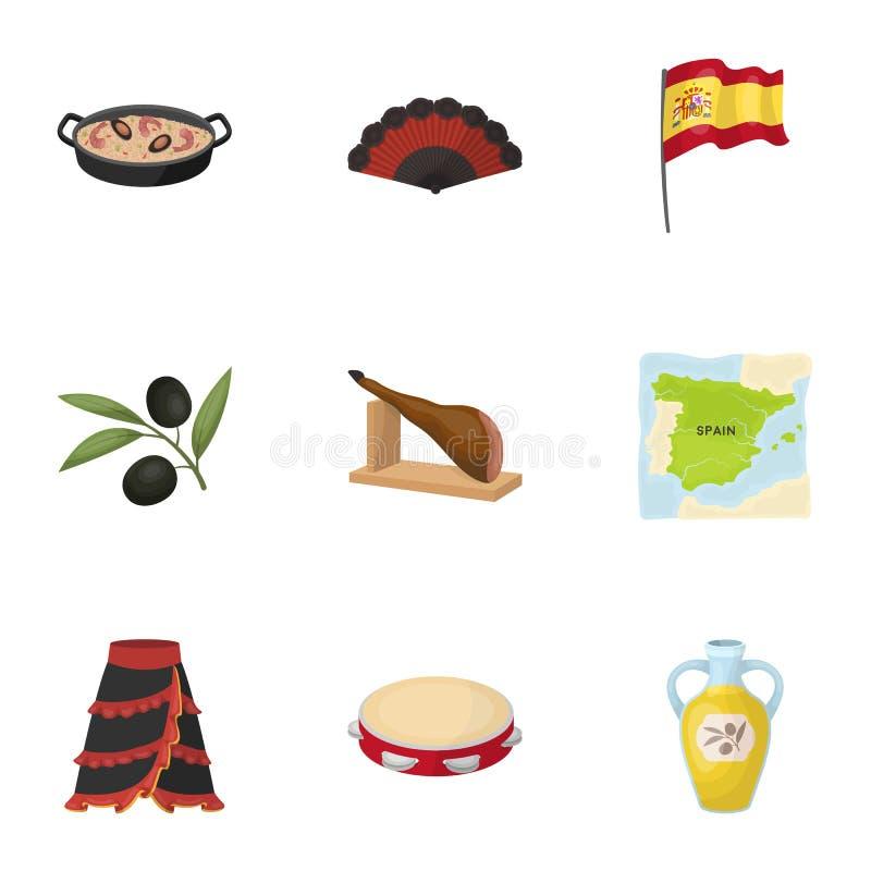 En uppsättning av bilder om Spanien Sikt av Spanien, zigenare, gitarr, dansar Spanien landssymbol i uppsättningsamling på tecknad royaltyfri illustrationer