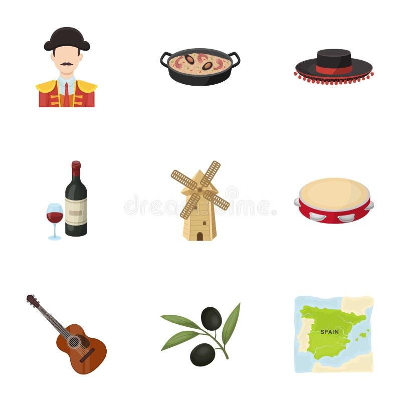 En uppsättning av bilder om Spanien Sikt av Spanien, zigenare, gitarr, dansar Spanien landssymbol i uppsättningsamling på tecknad stock illustrationer
