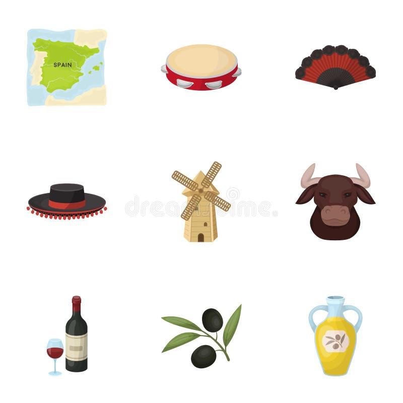 En uppsättning av bilder om Spanien Sikt av Spanien, zigenare, gitarr, dansar Spanien landssymbol i uppsättningsamling på tecknad vektor illustrationer