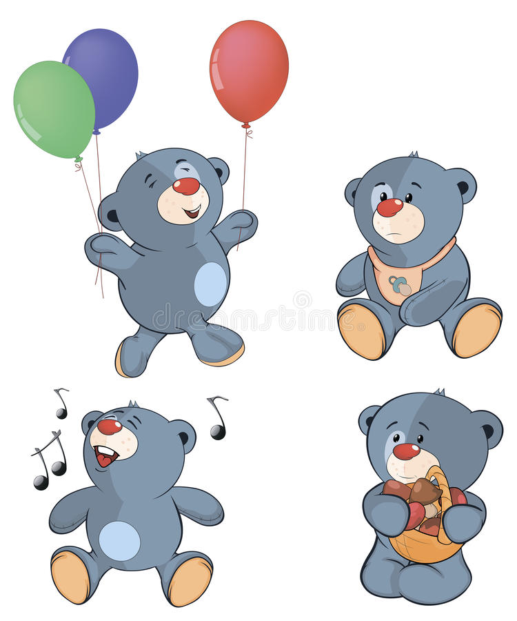 En uppsättning av björnar cartoon royaltyfri illustrationer
