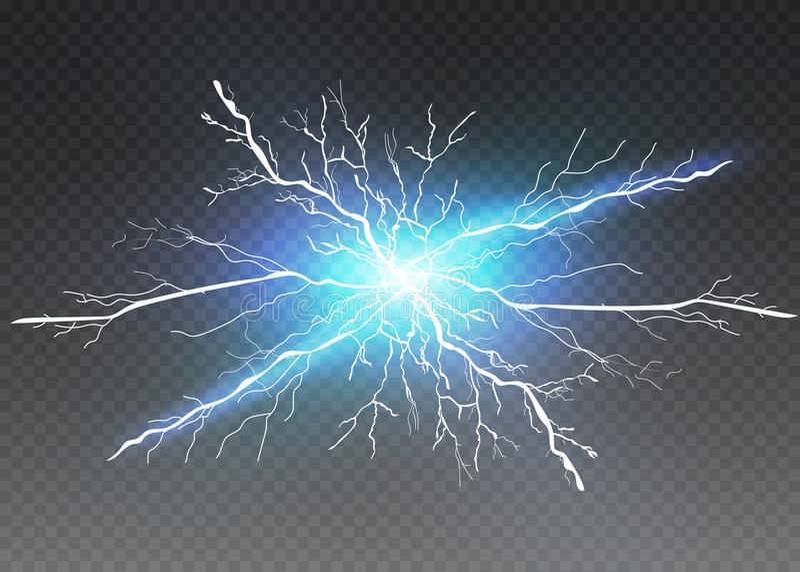 En uppsättning av blixtmagi och ljusa ljusa effekter också vektor för coreldrawillustration Elektrisk ström för urladdning vektor illustrationer