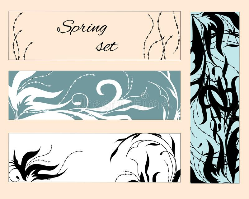 En uppsättning av blom- bokmärker, reklamblad med rosa och vita blommor för orientering, den företags identiteten och designen Pl royaltyfri illustrationer