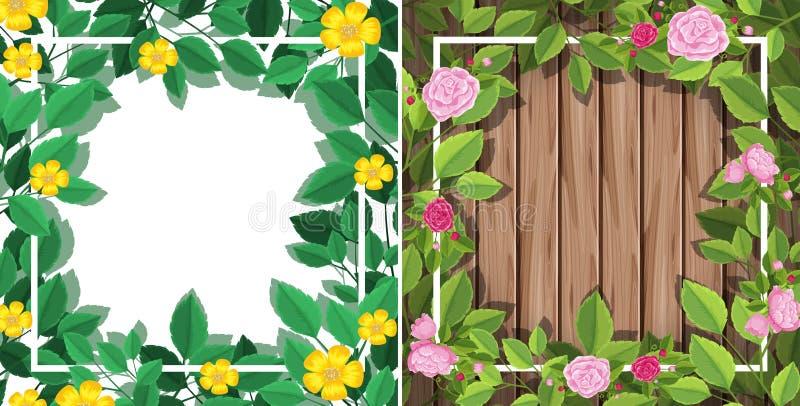 En uppsättning av blommaramen royaltyfri illustrationer