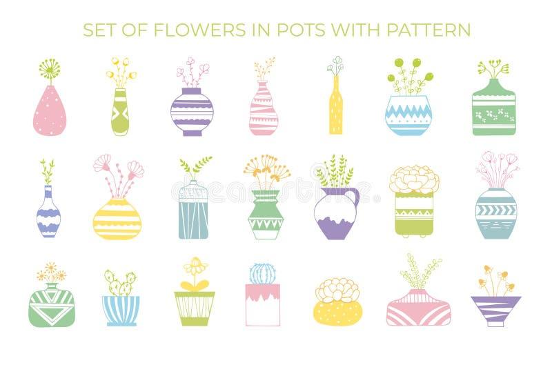 En uppsättning av blommor i krukor med en modell stock illustrationer