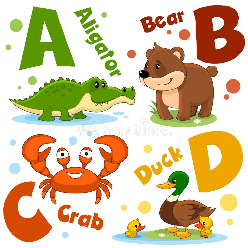 En uppsättning av bokstäver med bilder av djur, ord från det engelska alfabetet För utbildningen av barn 1 deltagare stock illustrationer