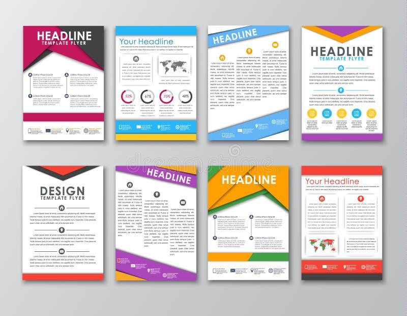 En uppsättning av broschyrer i stilen av den materiella designen royaltyfri illustrationer