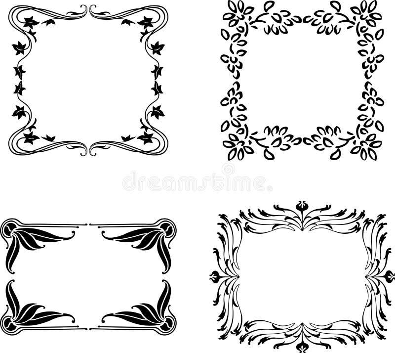 En uppsättning av de olika blom- ramarna stock illustrationer