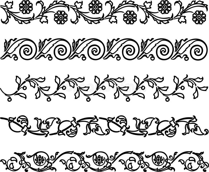 En uppsättning av dekorativa blom- gränser vektor illustrationer