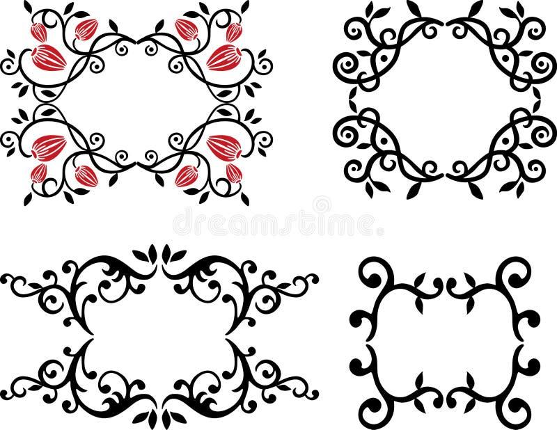 En uppsättning av dekorativa blom- ramar vektor illustrationer