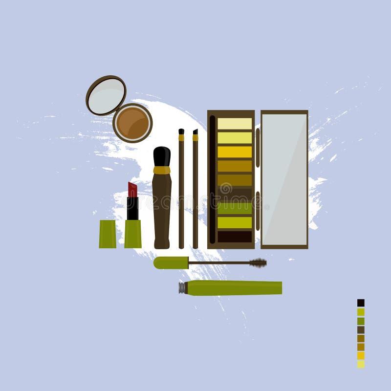 En uppsättning av dekorativa skönhetsmedel i varma skuggor stock illustrationer
