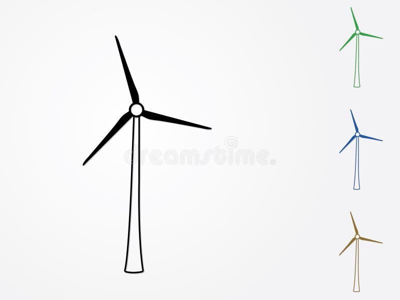 En uppsättning av den färgrika moderna väderkvarnvektorn som frambringar elektricitet från vind i vit bakgrund för illu för förny royaltyfri illustrationer