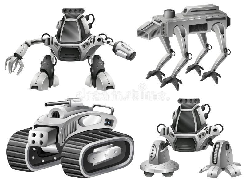 En uppsättning av den isolerade roboten vektor illustrationer
