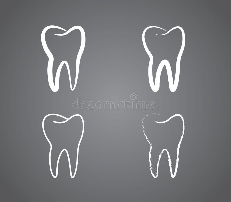 En uppsättning av den vita sunda tandlogoen för tand- kliniker på svart bakgrund vektor illustrationer