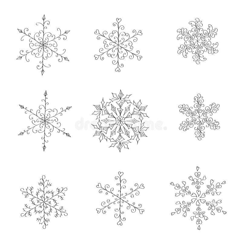 En uppsättning av dendrog svartvita snöflingan royaltyfri illustrationer