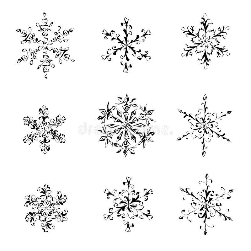 En uppsättning av dendrog svartvita snöflingan stock illustrationer